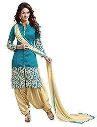 Blissta Blue Bhagalpuri Unstitched Party Wear Patiala Dress Material