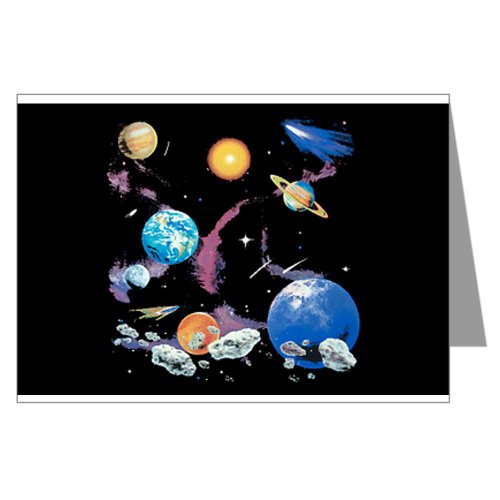 Greeting Card Solar System And Asteroids