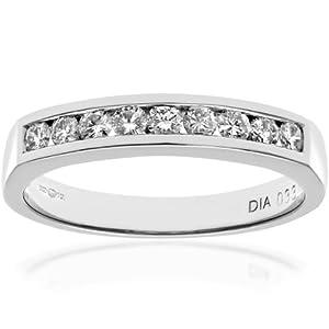 Ariel 18ct White Gold Channel Set Half Eternity Ring, IJ/I Certified Diamonds, Round Brilliant, 0.33ct