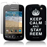 BlackBerry Curve 9380 Black/White Keep Calm and Stay Reem Lasered Silicone Skin Case / Cover / Shell + Screen Protector PART OF THE QUBITS ACCESSORIES RANGEby Qubits