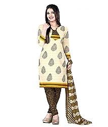 Sanjana Women's Cream Cotton Unstitch Embroidered Designer Dress Material (SC8700_Free Size_Cream)