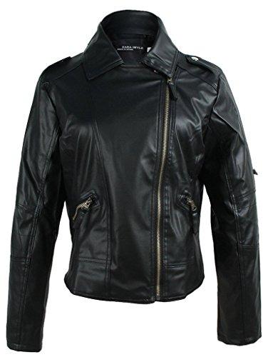 EOZY-Jacket Moto Donna di PU Pelle Giacca a Manica Lunga Donna (Nero, Petto di 103cm)