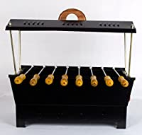 Barbeque Grill | Travel Essentials | Hut Shaped Barbeque with 8 Skewers Charcoal Grill Compact BBQ Black Iron Barbecue