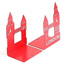 Fasmov London Retro Clock Bookends Nonskid Bookends,1 Pair (Red)