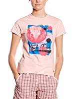 "THINK PINK Camiseta Manga Corta T-Shirt Donna""Think Pink""Girocollo In Jersey Di Cotone Stretch Tinto Capo Stampa Fotografica (Rosa)"