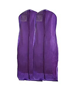 "Bags for LessTM Breathable Wedding Gown Dress Garment Bag 72"" Long Set of 2, Purple"