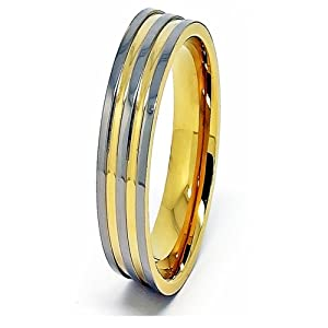 6mm Triple Polished Titanium with 2 Gold Plated Grooves Ring Wedding Band Size I