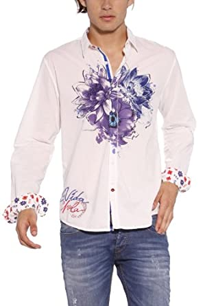 desigual chemise homme blanc 1000 blanco small v tements et accessoires. Black Bedroom Furniture Sets. Home Design Ideas