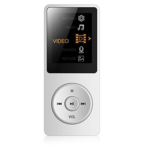 """Tabmart M01 IL lettore MP3 8 GB schermo 1,8"""" con Radio e registratore, Il tempo di riproduzione è fino a 70 ore, Bianca"""
