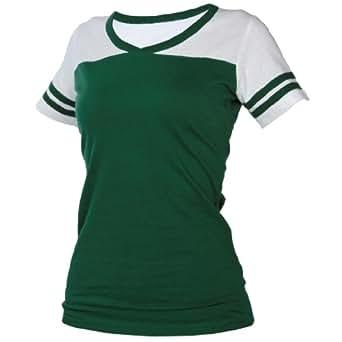 Amazon.com: Hunter Green Powder Puff V Neck Neck Tee Shirt
