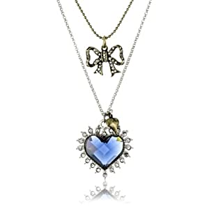 "Betsey Johnson ""Royal Engagement"" Blue Crystal Heart 2 Row Necklace"