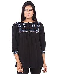 Mallika Women's Cotton Regular Fit Top (TOMWPR_4, Black, Small)