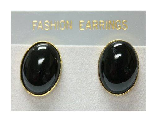 Black Onyx Oval Shaped Gold Plated Earrings - Fashion Earrings