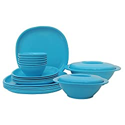 Incrizma Plastic Square Plate and Bowl Set, 22-Pieces, Turquoise
