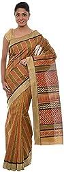 The Print Village Women's Cotton Silk Saree (Gold)