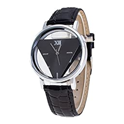 Unisex Unique Triangular Dial Watch Quartz Analog Quartz Wrist Watches Black