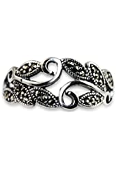 Moon Wings Solid Sterling Silver Vine and Leaves Vintage Womens Ring