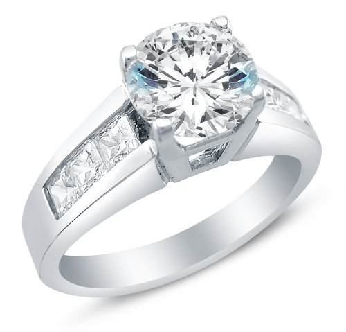Size 8 - Solid 14K White Gold Round Brilliant Cut Solitaire With Princess Cut Side Stones Highest Quality Cz Cubic Zirconia Engagement Ring 1.75Ct.
