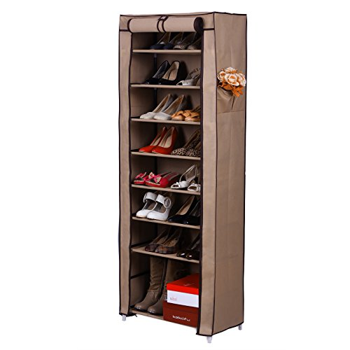 Songmics 10 Tiers Shoe Rack Closet With Cover Shoe Storage