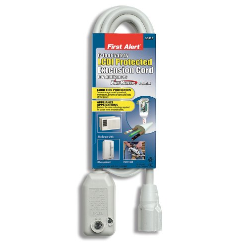 Trc 90820 First Alert Lcdi Safety Extension Cord, Protected With Fire Shield, 1-Outlet, 6-Feet, White front-209860