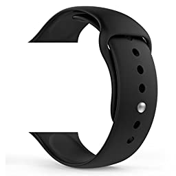 MoKo Apple Watch Band, Soft Silicone Replacement Sport Band for 42mm Apple Watch Models, BLACK (3 Pieces of Bands Included for 2 Lengths, Not Fit 38mm version 2015)