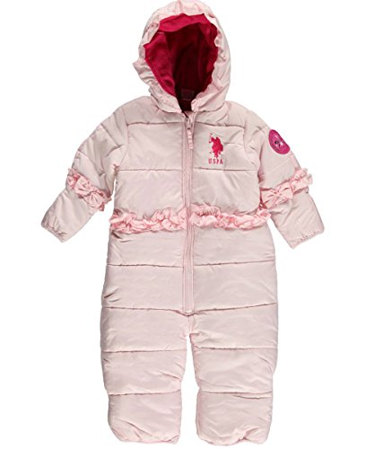 Us Polo Association Baby-Girls Infant Heavy Weight Puffer Bodysuit Snowsuit, Baby Pink, 24 Months