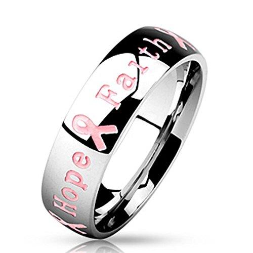 """Paula & Fritz anello in acciaio inox argento 10 mm di larghezza in Rosa con scritta """"coraggio Strength Hope FAITH"""" disponibile misura 47 (15) - 66 (21), Acciaio inossidabile, 20, colore: Argento, cod. R-M4646_09"""