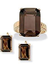 Emerald-Cut Smoky Quartz 14k Gold-Plated Ring and Earrings Set