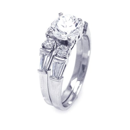 Four-Prong Sterling Silver Engagement Ring, Designed with High Quality Round-Cut Colorless Cubic Zirconia Center Stone and Round Plus Baguette Side Stones, Limited-Time Sale Offer, Comes with Free Gift Pouch and Gift Box (4.5)