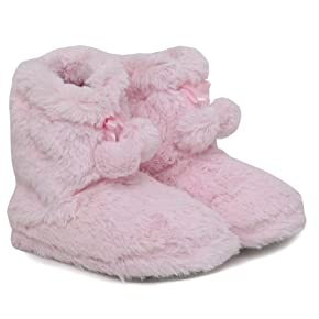 Girls Soft Fluffy Indoor Footwear/Slipper Boots with Pom Poms