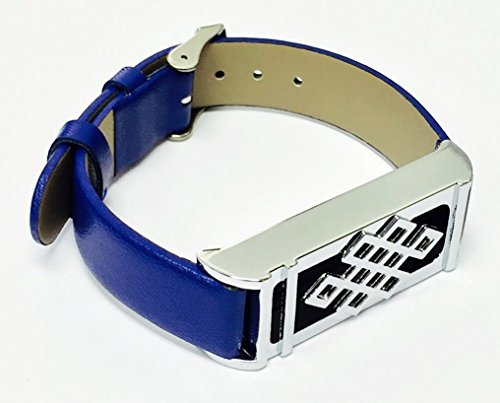 BSI-Blue-Leather-Band-For-Fitbit-Flex-Activity-Tracker-Adjustable-Straps-With-Metal-Buckle-Clasp-And-Silver-Color-Unique-Design-Metal-Housing-55-75-Size