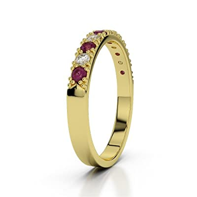 18 KT Yellow Gold Ruby & Diamond Half Eternity Ring AGDR-1130-IH