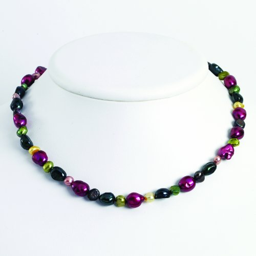 Sterling Silver Multi-Color Cultured Pearl Necklace
