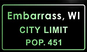 embarrass village t83286-g Embarrass village, WI City Limit Pop 451 Indoor Neon sign