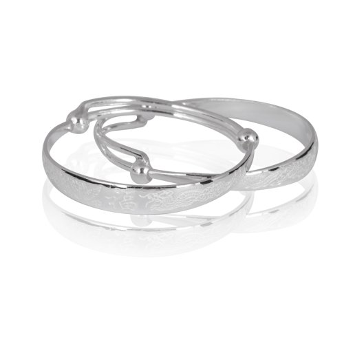 Fashion Plaza Sterling Silver Children's Expandable Bangle Bracelet 7.9g Weight 7mm Widest Band Y45 (A Pair)