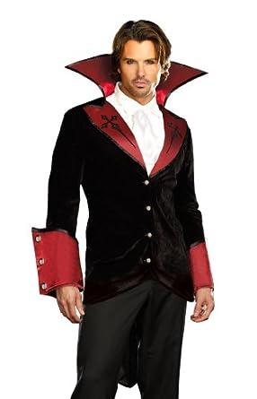 Dreamgirl Mens Just One Bite Vampire Suit Costume, Black/Red, Medium