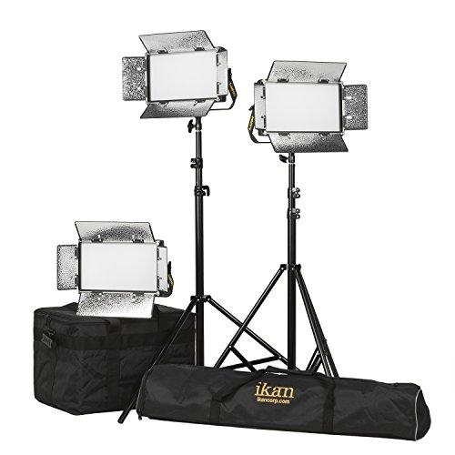 IKAN-LB5-3PT-KIT-Lyra-Half-1-Bi-Color-3200K-5600K-3-Point-Soft-Panel-LED-Light-Kit-mit-Gold-und-V-Mount-Battery-Plate-schwarz