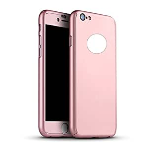 House of Quirk Iphone 6S Plus Case 360 Full Coverage Protection Hard Slim Ultra Tempered Glass Screen - Rosegold Color