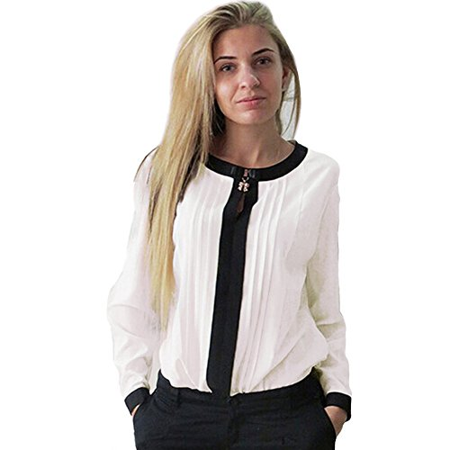 Eleery Fashion Women Loose Boat Neck Long Sleeve Chiffon Solid Pleated Shirt Blouse Ladies Casual Tops (UK 12, White)