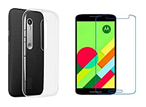 Generic Ultra Thin Crystel Clear Soft Silicon Back Cover with Tempered Glass for Moto X Play -Transparent