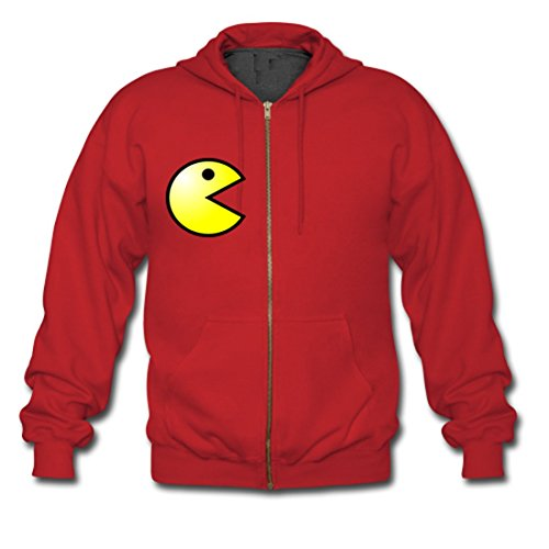 LARger pac-man Custom Gildan Full Zip Hooded Sweatshirt Red (NEW) S