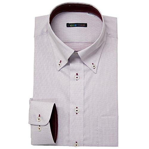 (カラーナビ)Color Navi 長袖 ワイシャツ 形態安定 Yシャツ L(41-84) #52 ほんのりレッド(織柄)/ボタンダウン