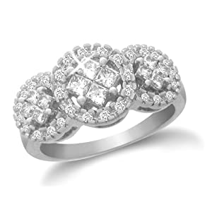 14k White Gold Triple Circle Cluster Diamond Ring (1/2 cttw, I-J Color, I1-I2 Clarity), Size 5