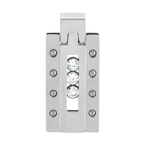 Inox Jewelry 316 Stainless Steel Ice Bar Riveted cz Detail Pendant