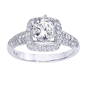 14k White Gold Certified Engagement Ring (1 1/5 cttw with 5/8 ct Round Center H-I Color, I1I2 Clarity), Size 8