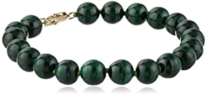 14k Yellow Gold 8mm Malachite Beaded Bracelet, 7.25""