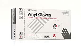 Daxwell F10001254 Vinyl General Purpose Glove, Powdered, Small, Clear (10 Boxes of 100 Gloves)