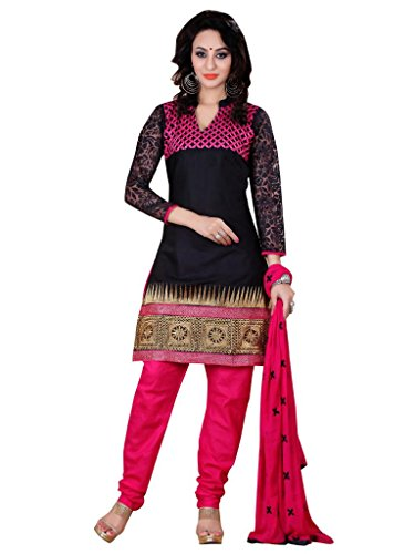 Vibes Women's Georgette Salwar Suit Set (V121-1003 _Black _Free Size)
