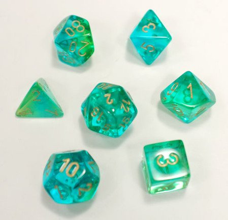 Polyhedral 7-Die Gemini Dice Set - Translucent Green-Teal With White