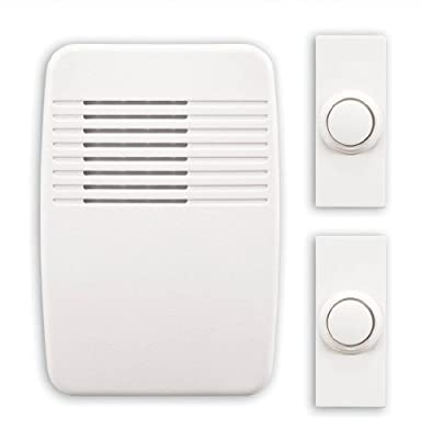 Heath Zenith SL-6167-C Wireless Plug-In Door Chime Kit with 2 Push Buttons, White